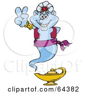 Royalty Free RF Clipart Illustration Of A Peaceful Genie Gesturing A Peace Sign