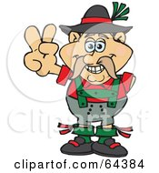 Royalty Free RF Clipart Illustration Of A Peaceful Oktoberfest Man Gesturing A Peace Sign