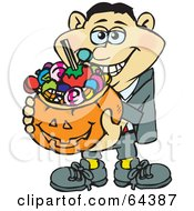 Royalty Free RF Clipart Illustration Of A Trick Or Treating Man Holding A Pumpkin Basket Full Of Halloween Candy Version 2 by Dennis Holmes Designs