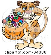 Royalty Free RF Clipart Illustration Of A Trick Or Treating Leopard Holding A Pumpkin Basket Full Of Halloween Candy