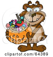 Royalty Free RF Clipart Illustration Of A Trick Or Treating Bear Holding A Pumpkin Basket Full Of Halloween Candy