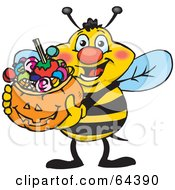 Trick Or Treating Honey Bee Holding A Pumpkin Basket Full Of Halloween Candy