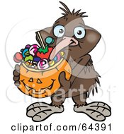 Royalty Free RF Clipart Illustration Of A Trick Or Treating Kiwi Bird Holding A Pumpkin Basket Full Of Halloween Candy
