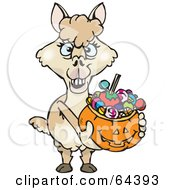 Royalty Free RF Clipart Illustration Of A Trick Or Treating Alpaca Holding A Pumpkin Basket Full Of Halloween Candy by Dennis Holmes Designs