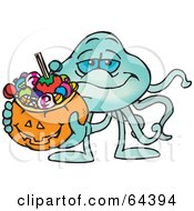 Royalty Free RF Clipart Illustration Of A Trick Or Treating Jellyfish Holding A Pumpkin Basket Full Of Halloween Candy