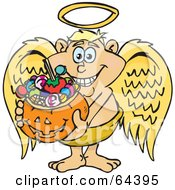 Royalty Free RF Clipart Illustration Of A Trick Or Treating Angel Guy Holding A Pumpkin Basket Full Of Halloween Candy