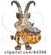 Royalty Free RF Clipart Illustration Of A Trick Or Treating Ibex Holding A Pumpkin Basket Full Of Halloween Candy