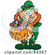 Royalty Free RF Clipart Illustration Of A Trick Or Treating Leprechaun Holding A Pumpkin Basket Full Of Halloween Candy