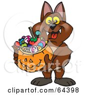 Royalty Free RF Clipart Illustration Of A Trick Or Treating Vampire Bat Holding A Pumpkin Basket Full Of Halloween Candy by Dennis Holmes Designs