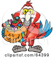 Royalty Free RF Clipart Illustration Of A Trick Or Treating Scarlet Macaw Holding A Pumpkin Basket Full Of Halloween Candy by Dennis Holmes Designs