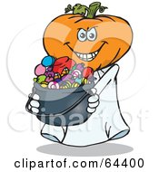 Royalty Free RF Clipart Illustration Of A Trick Or Treating Jack O Lantern Holding A Cauldron Full Of Halloween Candy by Dennis Holmes Designs