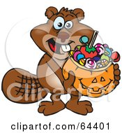 Royalty Free RF Clipart Illustration Of A Trick Or Treating Beaver Holding A Pumpkin Basket Full Of Halloween Candy by Dennis Holmes Designs