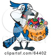 Royalty Free RF Clipart Illustration Of A Trick Or Treating Blue Jay Holding A Pumpkin Basket Full Of Halloween Candy