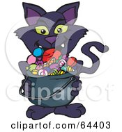Royalty Free RF Clipart Illustration Of A Trick Or Treating Black Cat Holding A Cauldron Full Of Halloween Candy