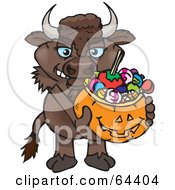 Royalty Free RF Clipart Illustration Of A Trick Or Treating Bison Holding A Pumpkin Basket Full Of Halloween Candy by Dennis Holmes Designs
