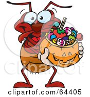 Royalty Free RF Clipart Illustration Of A Trick Or Treating Ant Holding A Pumpkin Basket Full Of Halloween Candy