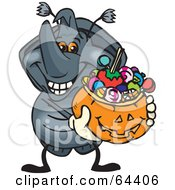 Royalty Free RF Clipart Illustration Of A Trick Or Treating Rhino Beetl Holding A Pumpkin Basket Full Of Halloween Candy
