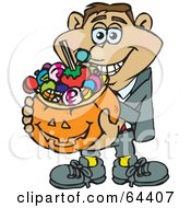 Royalty Free RF Clipart Illustration Of A Trick Or Treating Man Holding A Pumpkin Basket Full Of Halloween Candy Version 4 by Dennis Holmes Designs