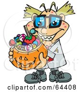 Royalty Free RF Clipart Illustration Of A Trick Or Treating Mad Scientist Holding A Pumpkin Basket Full Of Halloween Candy by Dennis Holmes Designs
