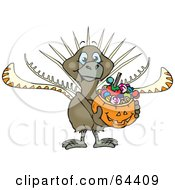 Royalty Free RF Clipart Illustration Of A Trick Or Treating Lyrebird Holding A Pumpkin Basket Full Of Halloween Candy
