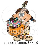 Royalty Free RF Clipart Illustration Of A Trick Or Treating Female Native American Holding A Pumpkin Basket Full Of Halloween Candy by Dennis Holmes Designs