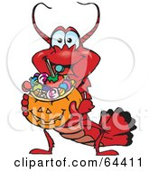 Royalty Free RF Clipart Illustration Of A Trick Or Treating Lobster Holding A Pumpkin Basket Full Of Halloween Candy by Dennis Holmes Designs