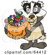 Royalty Free RF Clipart Illustration Of A Trick Or Treating Badger Holding A Pumpkin Basket Full Of Halloween Candy