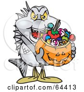 Royalty Free RF Clipart Illustration Of A Trick Or Treating Bream Holding A Pumpkin Basket Full Of Halloween Candy by Dennis Holmes Designs