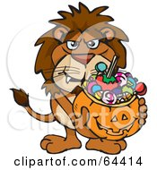 Royalty Free RF Clipart Illustration Of A Trick Or Treating Lion Holding A Pumpkin Basket Full Of Halloween Candy