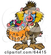 Royalty Free RF Clipart Illustration Of A Trick Or Treating Baboon Holding A Pumpkin Basket Full Of Halloween Candy