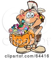 Royalty Free RF Clipart Illustration Of A Trick Or Treating Male Native American Holding A Pumpkin Basket Full Of Halloween Candy