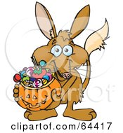 Royalty Free RF Clipart Illustration Of A Trick Or Treating Bilby Holding A Pumpkin Basket Full Of Halloween Candy