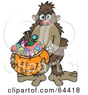 Royalty Free RF Clipart Illustration Of A Trick Or Treating Ape Holding A Pumpkin Basket Full Of Halloween Candy