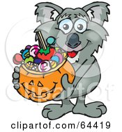 Royalty Free RF Clipart Illustration Of A Trick Or Treating Koala Holding A Pumpkin Basket Full Of Halloween Candy