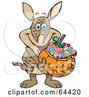 Royalty Free RF Clipart Illustration Of A Trick Or Treating Armadillo Holding A Pumpkin Basket Full Of Halloween Candy by Dennis Holmes Designs