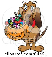 Royalty Free RF Clipart Illustration Of A Trick Or Treating Blood Hound Holding A Pumpkin Basket Full Of Halloween Candy