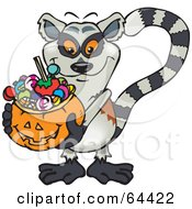 Royalty Free RF Clipart Illustration Of A Trick Or Treating Lemur Holding A Pumpkin Basket Full Of Halloween Candy