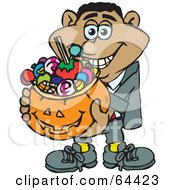 Royalty Free RF Clipart Illustration Of A Trick Or Treating Man Holding A Pumpkin Basket Full Of Halloween Candy Version 3 by Dennis Holmes Designs