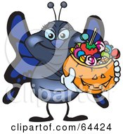 Royalty Free RF Clipart Illustration Of A Trick Or Treating Butterfly Holding A Pumpkin Basket Full Of Halloween Candy