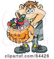 Royalty Free RF Clipart Illustration Of A Trick Or Treating Man Holding A Pumpkin Basket Full Of Halloween Candy Version 1 by Dennis Holmes Designs