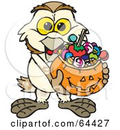 Royalty Free RF Clipart Illustration Of A Trick Or Treating Barn Owl Holding A Pumpkin Basket Full Of Halloween Candy by Dennis Holmes Designs