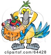 Royalty Free RF Clipart Illustration Of A Trick Or Treating Macaw Holding A Pumpkin Basket Full Of Halloween Candy by Dennis Holmes Designs