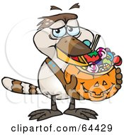 Royalty Free RF Clipart Illustration Of A Trick Or Treating Kookaburra Holding A Pumpkin Basket Full Of Halloween Candy by Dennis Holmes Designs