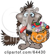 Royalty Free RF Clipart Illustration Of A Trick Or Treating Anteater Holding A Pumpkin Basket Full Of Halloween Candy by Dennis Holmes Designs
