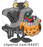 Royalty Free RF Clipart Illustration Of A Trick Or Treating Black Moor Holding A Pumpkin Basket Full Of Halloween Candy
