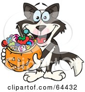 Royalty Free RF Clipart Illustration Of A Trick Or Treating Border Collie Holding A Pumpkin Basket Full Of Halloween Candy by Dennis Holmes Designs