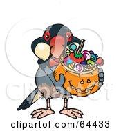 Royalty Free RF Clipart Illustration Of A Trick Or Treating Java Finch Holding A Pumpkin Basket Full Of Halloween Candy