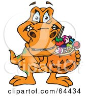Royalty Free RF Clipart Illustration Of A Trick Or Treating T Rex Holding A Pumpkin Basket Full Of Halloween Candy