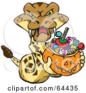 Royalty Free RF Clipart Illustration Of A Trick Or Treating Rattlesnake Holding A Pumpkin Basket Full Of Halloween Candy by Dennis Holmes Designs