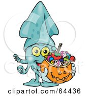 Trick Or Treating Squid Holding A Pumpkin Basket Full Of Halloween Candy